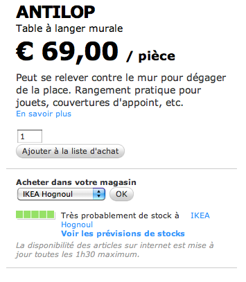 disponibilite table langer antilop belgique - Table Langer Baignoire Ikea